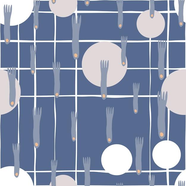 La mano del piatto e della forcella disegna il modello senza cuciture su fondo blu nello stile scandinavo minimo Vettore Premium