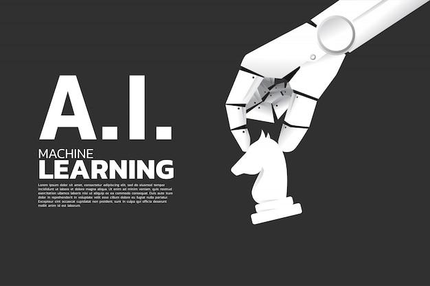 La mano del robot muove gli scacchi a bordo. apprendimento automatico Vettore Premium