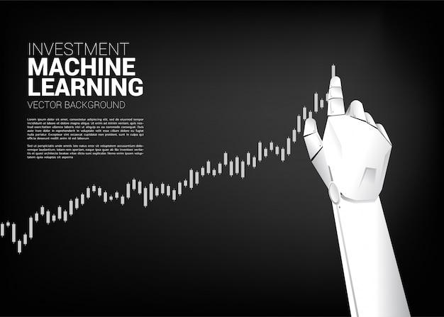 La mano del robot muove il grafico commerciale di tiro più su. Vettore Premium
