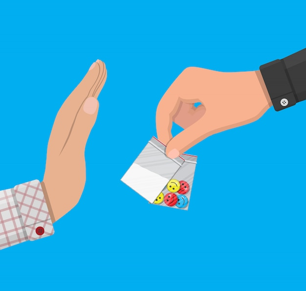 La mano del trafficante di droga dà una borsa con narcotici Vettore Premium