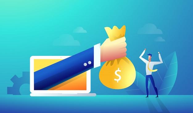 La mano dell'uomo d'affari dà la ricompensa online dall'uomo felice del computer portatile. Vettore Premium