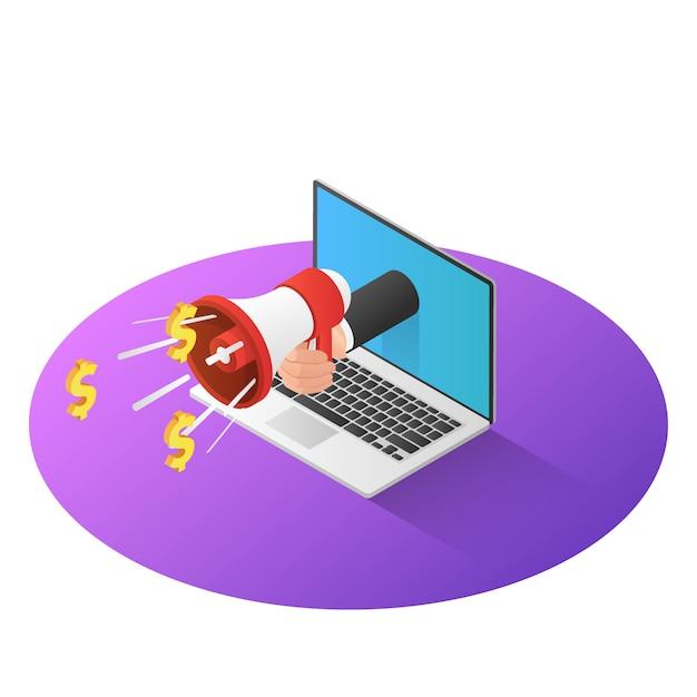 La mano isometrica dell'uomo d'affari 3d con il megafono esce dal monitor del computer portatile Vettore Premium