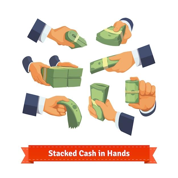 La mano pone dando, prendendo o mostrando pile di denaro Vettore gratuito