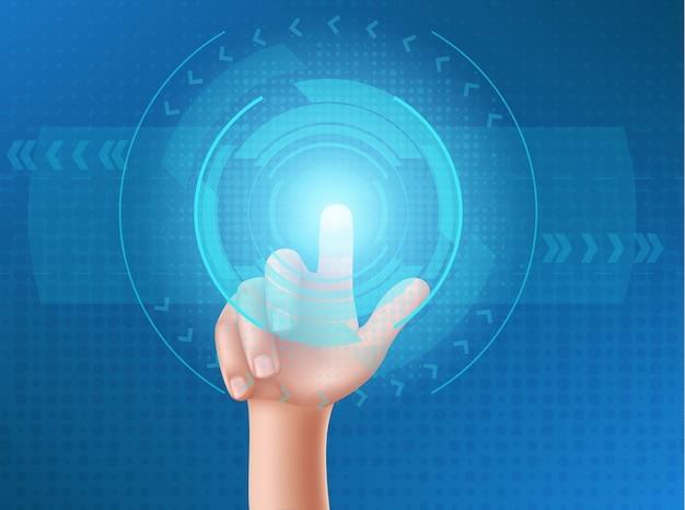 La mano umana preme il pulsante sul display a testa in su Vettore gratuito