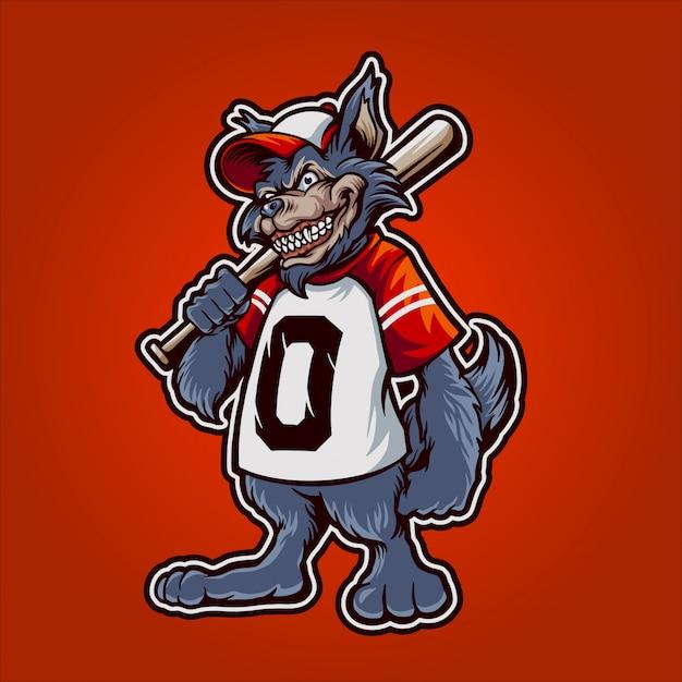 La mascotte del wolvy baseball Vettore Premium