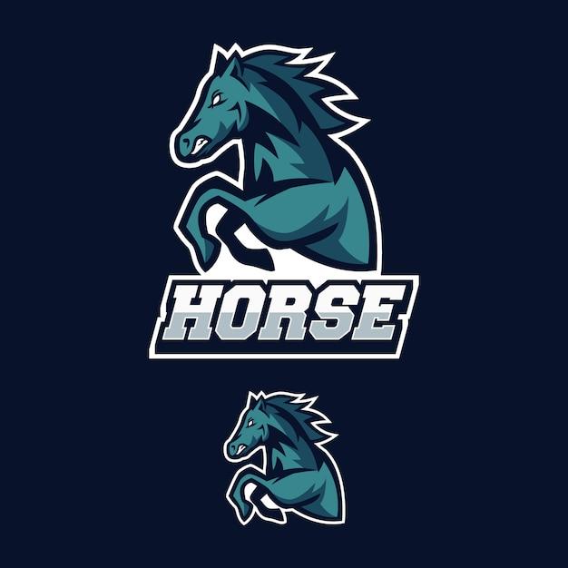 La mascotte di logo del cavallo esports il gioco Vettore Premium