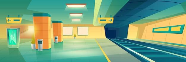 La metropolitana moderna, la stazione ferroviaria sotterranea svuota l'interno con l'insegna o l'insegna illuminata di pubblicità Vettore gratuito