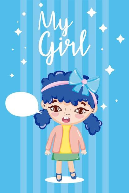 La mia ragazza cartone animato Vettore Premium