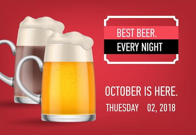 La migliore birra, ottobre qui banner design Vettore gratuito