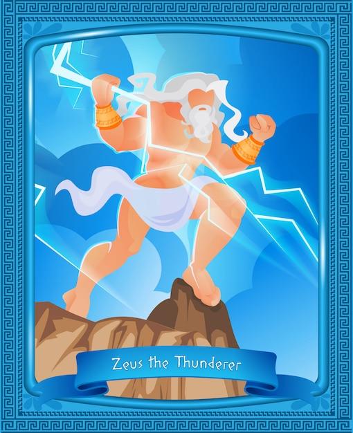 La mitologia greca è scritta zeus the thunderer. Vettore Premium
