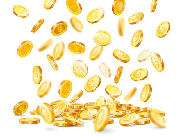 La moneta dei contanti che cade, vendita delle monete preziose del dollaro del jackpot di fortuna del casinò dell'oro di pioggia Vettore Premium