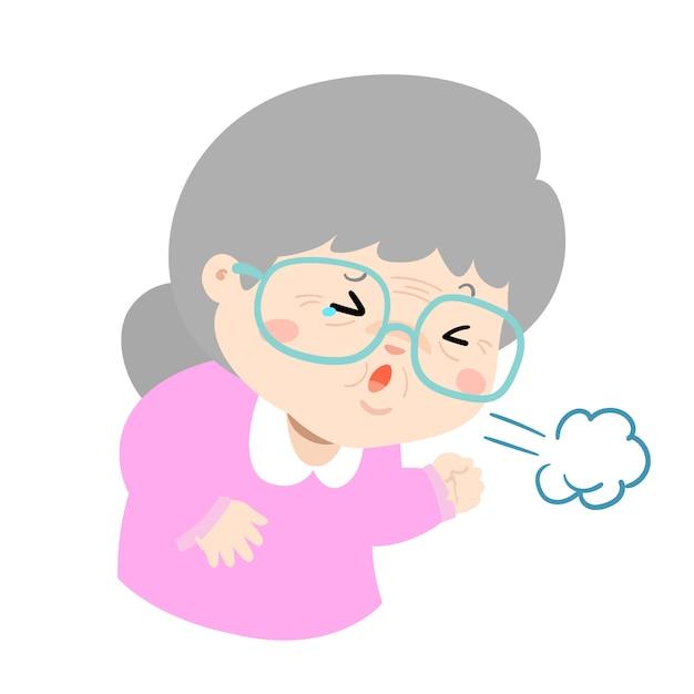 La nonna malata che tossisce duro causa il vettore di malattia influenzale Vettore Premium