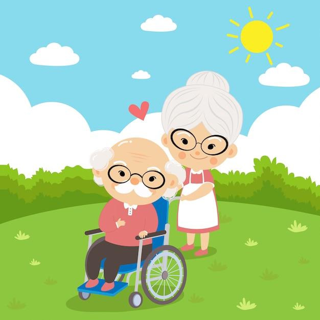 La nonna si prende cura del nonno è seduto su una sedia a rotelle con amore e preoccupazione quando si ammala. Vettore Premium
