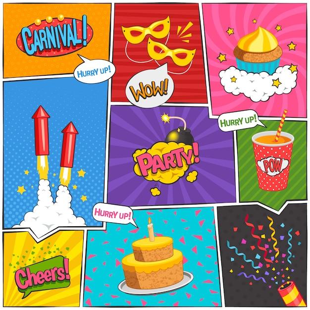 La pagina comica di carnevale e del partito progetta con l'illustrazione di vettore isolata piano di simboli di divertimento Vettore gratuito