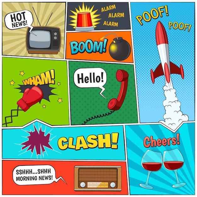 La pagina dei comici prenota la composizione con il razzo e due vetri della vite con l'illustrazione astratta di vettore dei fumetti Vettore Premium