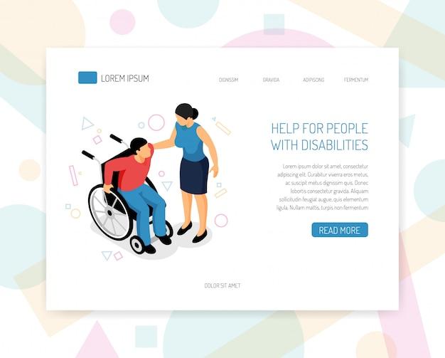 La pagina di destinazione o il modello web con le persone disabili aiutano le organizzazioni di volontari ad addestrare la raccolta di fondi per la progettazione di pagine web isometriche con illustrazione vettoriale di assistenza per sedie a rotelle Vettore gratuito