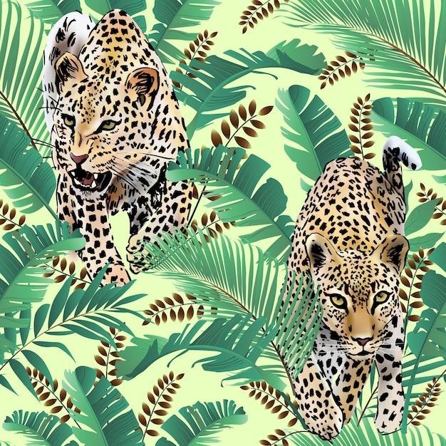 La palma delle leopardi lascia l'acquerello tropicale nella giungla. Vettore Premium