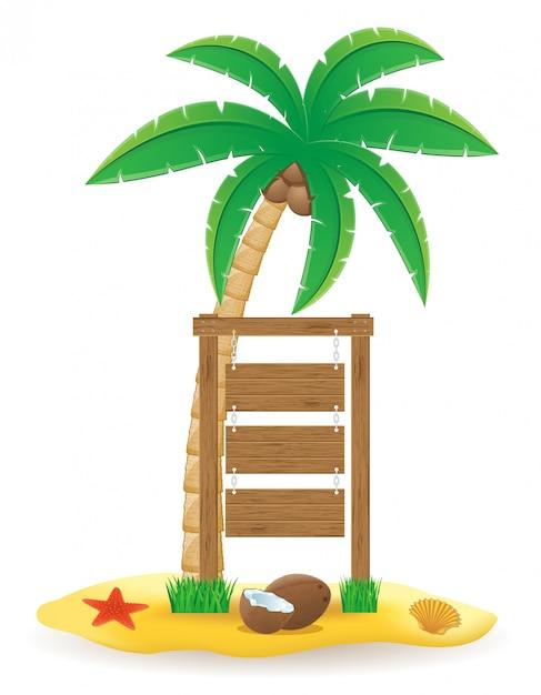 La palma e l'illustrazione di legno del segno del bordo del puntatore vector l'illustrazione Vettore Premium