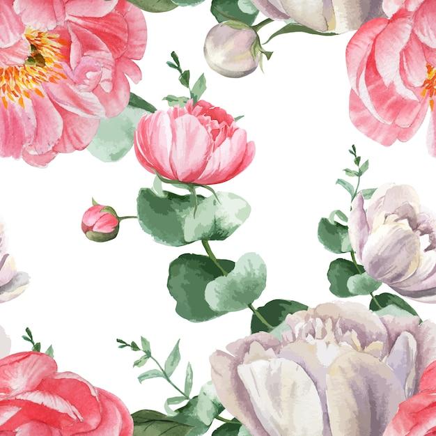 La peonia fiorisce il tessuto d'annata botanico floreale senza cuciture dell'acquerello di stile dell'acquerello del modello dell'acquerello Vettore gratuito