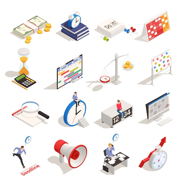 La pianificazione aziendale e l'organizzazione dell'orario di lavoro hanno messo con le icone isometriche di termine della sveglia di programma della clessidra isolate Vettore gratuito