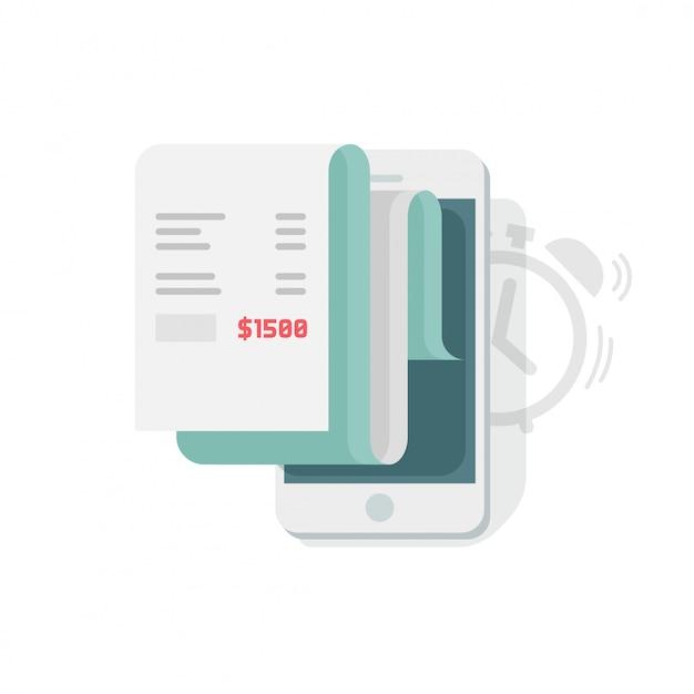 La pianificazione del rapporto di dati finanziari sull'illustrazione di statistiche di smartphone o del telefono cellulare vector l'illustrazione Vettore Premium