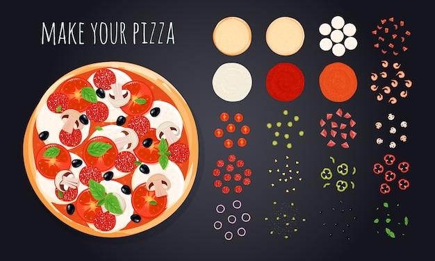 La pizza crea le icone decorative messe con l'immagine rotonda della pizza Vettore gratuito