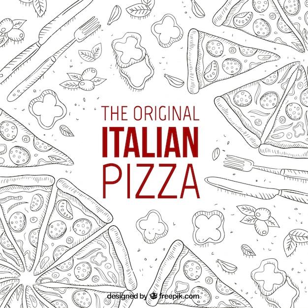La pizza italiana originale Vettore gratuito