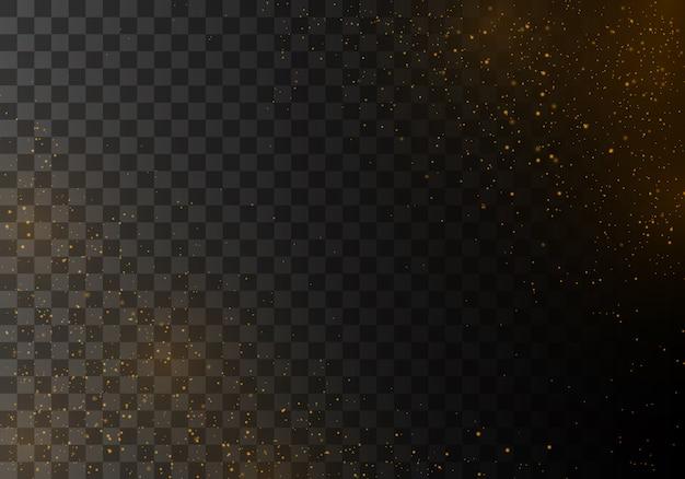 La polvere scintilla e le stelle dorate brillano di luce speciale. Vettore Premium