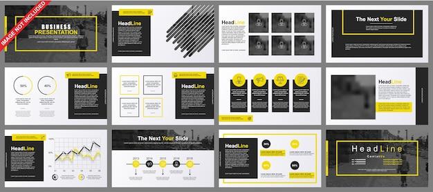 La presentazione di powerpoint in powerpoint scorre i modelli da elementi infografici. Vettore Premium
