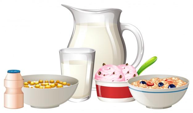 La prima colazione ha impostato su priorità bassa bianca Vettore Premium