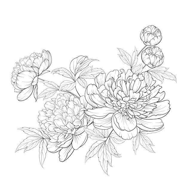 La primavera fiorisce il mazzo della ghirlanda del fiore di stile di contorno. Vettore Premium