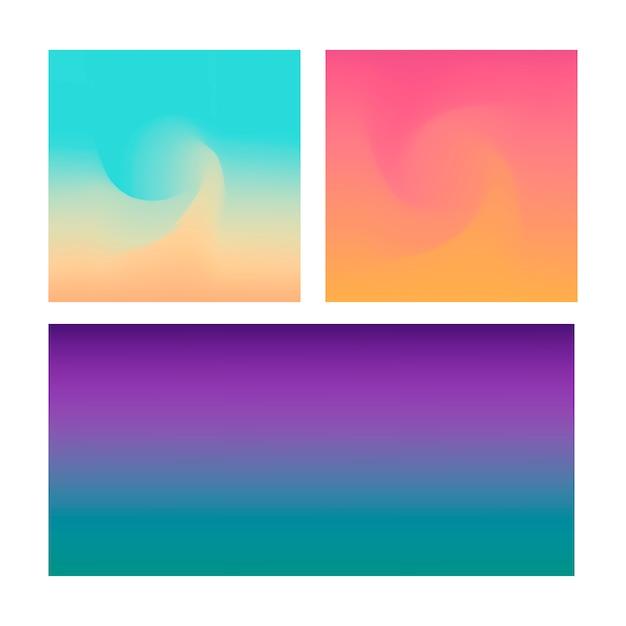 La priorità bassa astratta di gradiente ha impostato su colore viola blu e rosa di abd Vettore Premium