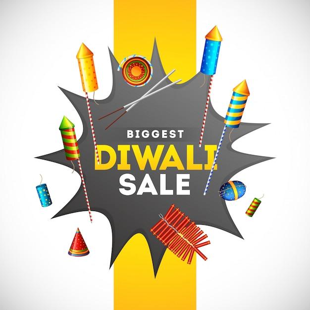 La progettazione del modello dell'insegna di vendita di diwali con l'illustrazione dei petardi differenti sull'esplosione comica ha scoppiato per il concetto di pubblicità. Vettore Premium