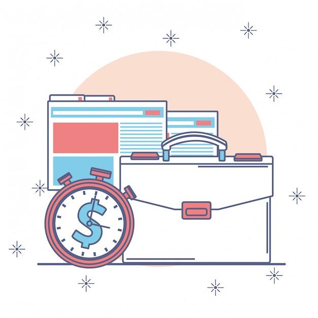 La progettazione dell'icona di affari e dei soldi, il pagamento del mercato di commercio di finanza investe e compra l'illustrazione di vettore di tema Vettore Premium