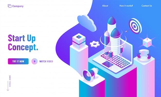 La progettazione della pagina di atterraggio del sito web di pubblicità, l'illustrazione 3d del razzo con il computer portatile, la nuvola e i grafici di infographics sull'area di lavoro di affari per iniziano sul concetto. Vettore Premium