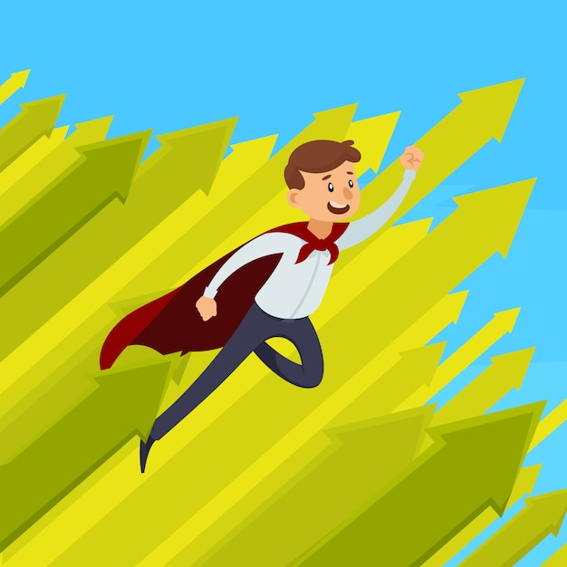 La progettazione di crescita di carriera con l'uomo d'affari di volo in mantello rosso su fondo blu con le frecce verdi vector l'illustrazione Vettore gratuito