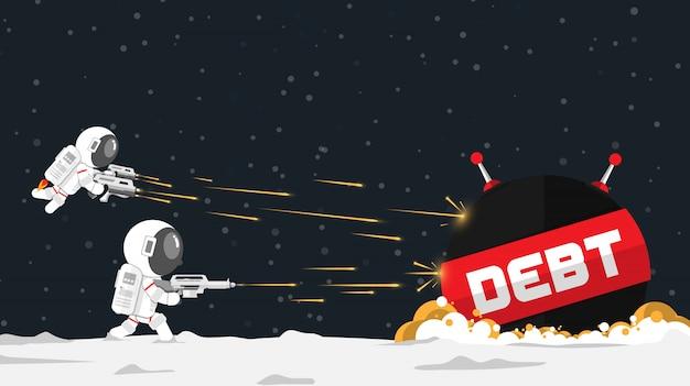 La progettazione piana, astronauti attacca l'astronave del debito nel concetto finanziario, l'illustrazione di vettore, elemento di infographic Vettore Premium