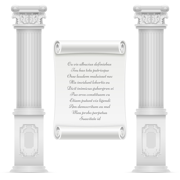 La progettazione romana antica dell'architettura con i colomns e il testo di pietra di marmo sulla pietra della pergamena del muro, vector il testo inciso sull'illustrazione di marmo Vettore Premium
