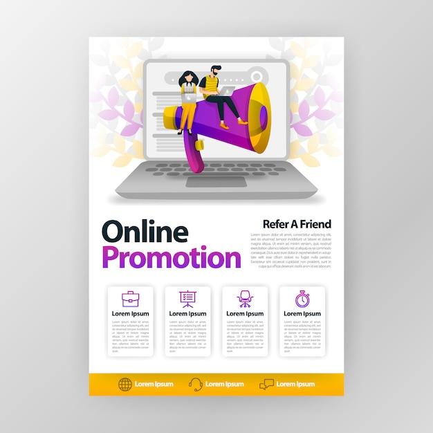 La promozione online e riferisce un manifesto di affari dell'amico con l'illustrazione piana del fumetto. Vettore Premium