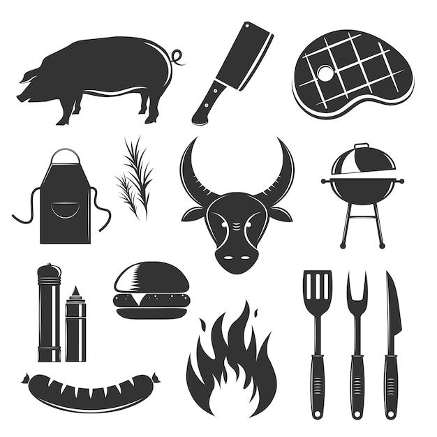 La raccolta d'annata degli elementi della bistecca con le immagini monocromatiche isolate della siluetta delle salse e dell'illustrazione delle coltelleria delle spezie dei prodotti a base di carne Vettore gratuito