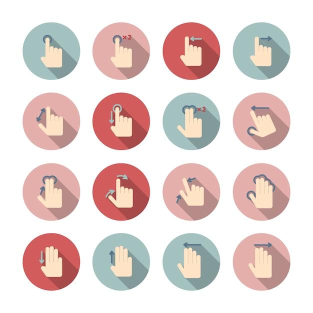 La raccolta dei pittogrammi della guida di icone di gesti di mani del touch screen per l'illustrazione di vettore isolata progettazione dell'applicazione Vettore Premium