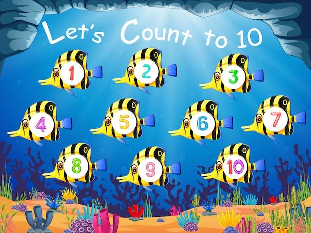 La raccolta del pesce con il numero 1 fino a 10 sul loro corpo Vettore Premium