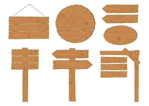 La raccolta del vettore di legno dell'insegna ha messo su bianco Vettore Premium