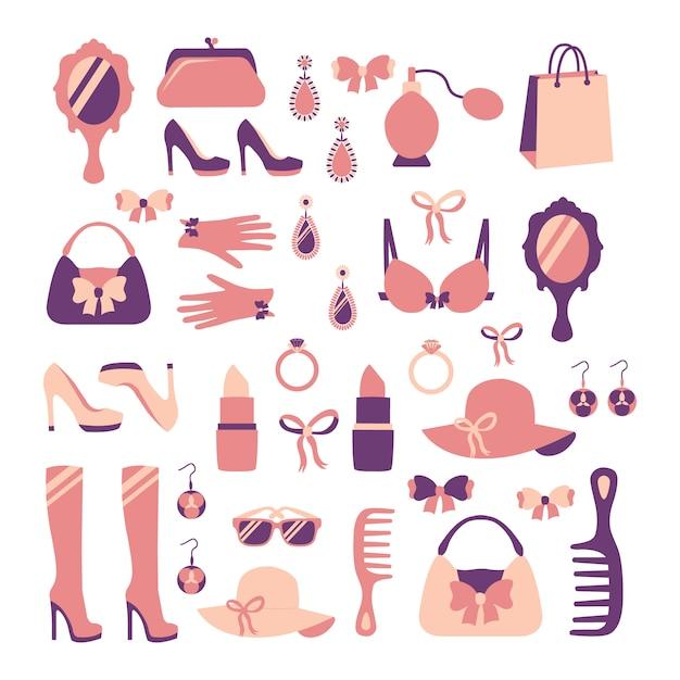 La raccolta dell'accessorio casuale alla moda di acquisto casuale alla moda della donna ha isolato l'illustrazione di vettore Vettore gratuito