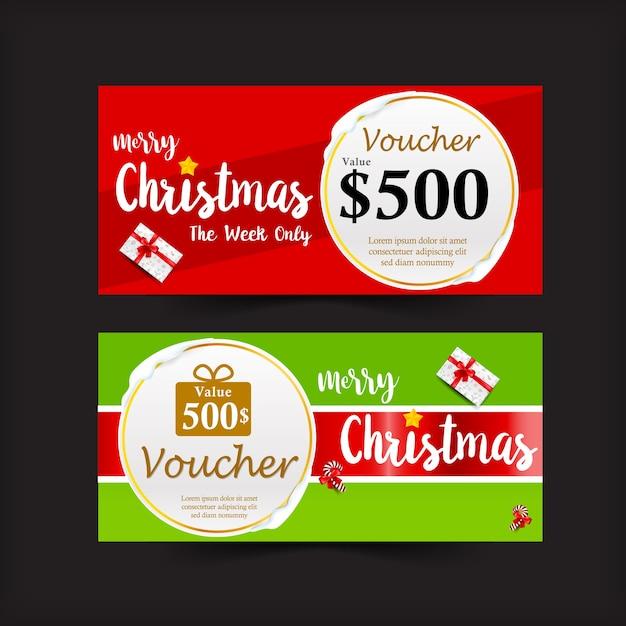 La raccolta della vendita di promozione dell'etichetta del buono del regalo di natale insegna e di vettore di sconto illustr Vettore Premium