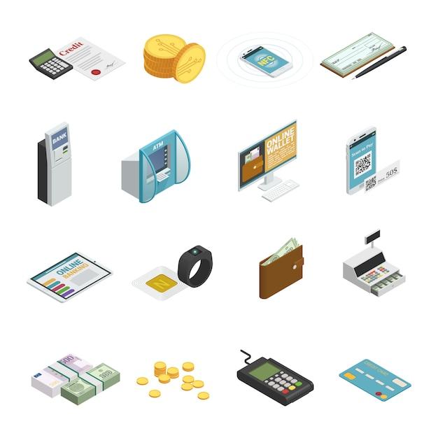 La raccolta isometrica delle icone di metodi di pagamento con le banconote dei contanti conia le carte bancarie di credito e gli smartphones isolati Vettore gratuito
