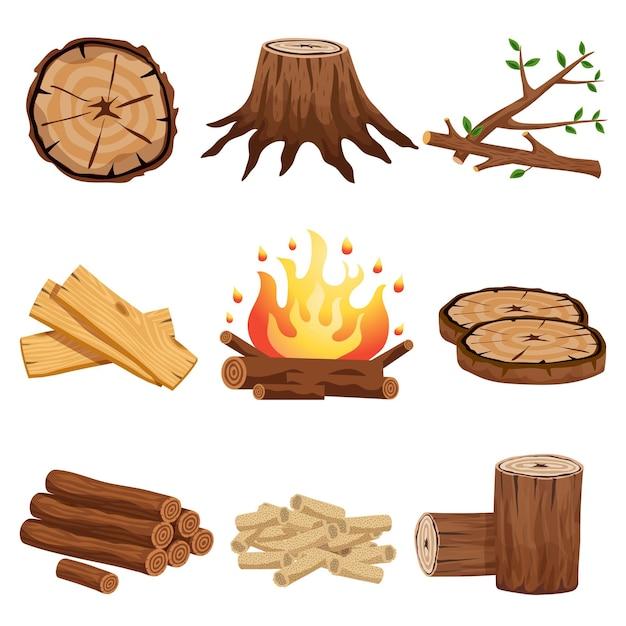 La raccolta piana degli elementi della legna da ardere con i rami del ceppo di albero ha tagliato il fuoco di accampamento circolare delle plance di segmenti dei ceppi isolato Vettore gratuito