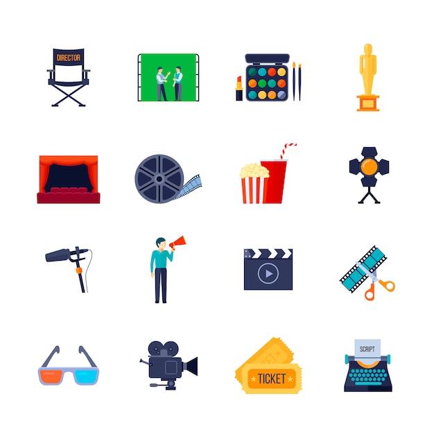 La raccolta piana delle icone di attributi di filmmaking e di filmmaking con la bobina del film della macchina fotografica ed i vetri 3d hanno isolato l'illustrazione di vettore Vettore gratuito