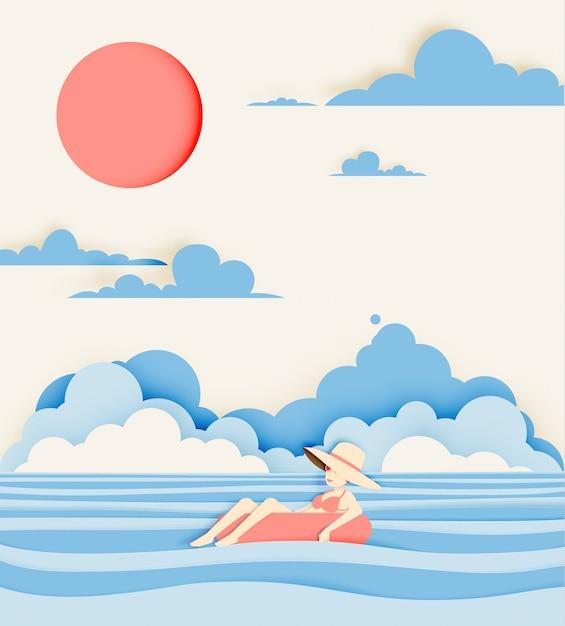 La ragazza che galleggia sulla spiaggia con la bella carta del fondo del mare ha tagliato lo stile Vettore Premium