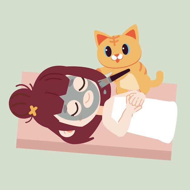 La ragazza che maschera il viso con la maschera nera di simpatico gatto. Vettore Premium